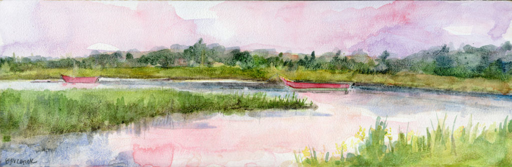 ©Erica Dale Strzepek, Evening Pause on Herring River. Watercolor, 12 x 4 inches.