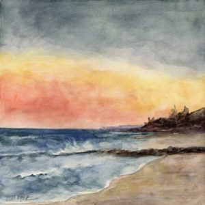 ©Erica Dale Strzepek, Sunset on Earle Road Beach. Watercolor, 8 x 8 inches.