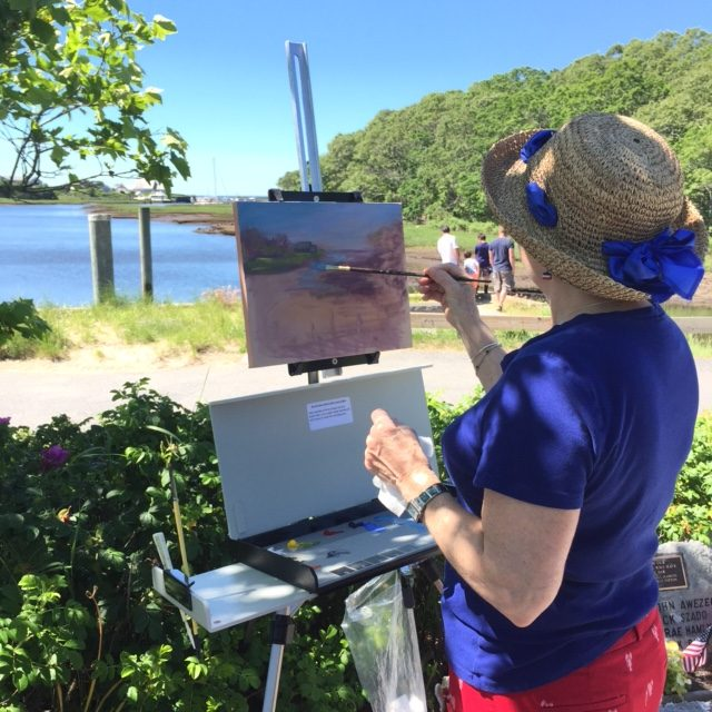 Chris Banks painting en plein air at Saqutucket Harbor