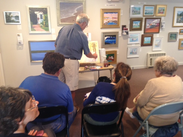 Larry Folding demonstrating his watercolor process at Meet The Artist on July 15. ©Guild of Harwich Artists